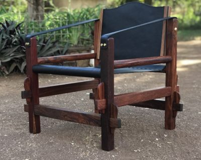 Safari Chair – Mninga Wood – Solid Brass Fittings