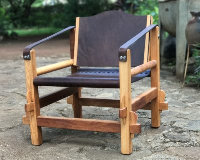 Safari Chair – Mkola Wood – Light Brown Leather