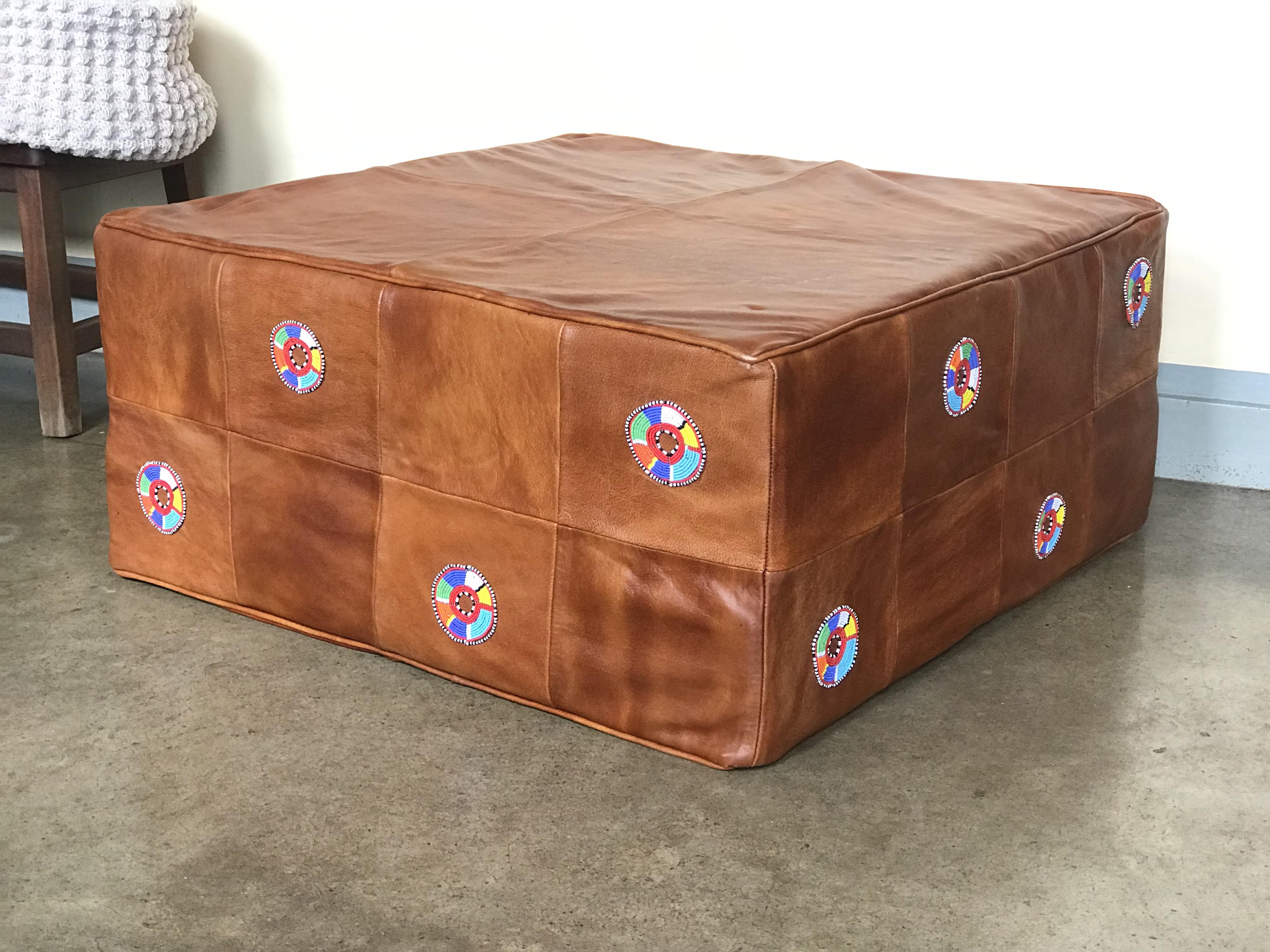 Square Leather Ottoman Handmade Leather Furniture