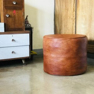 Round Leather Ottoman - Pouf